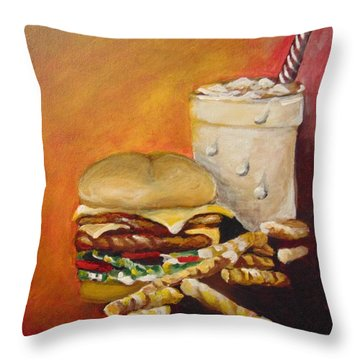 Throw Pillow featuring the painting Dinner Time by Saundra Johnson
