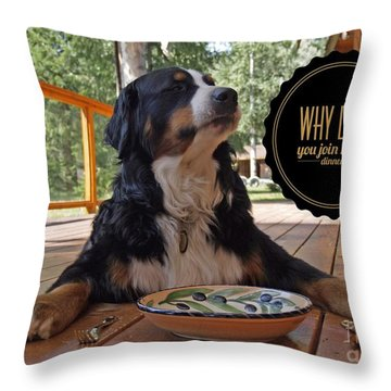 Dinner With My Dog Throw Pillow