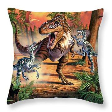 Dino Battle Throw Pillow
