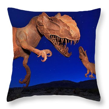 Throw Pillow featuring the photograph Dinosaur Battle In Jurassic Park by Sam Antonio Photography