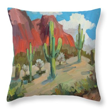 Throw Pillow featuring the painting Dinosaur Mountain by Diane McClary
