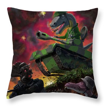 Throw Pillow featuring the painting Dinosaur War 01 by Martin Davey