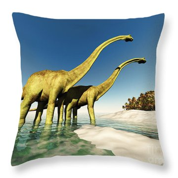 Dinosaur World Throw Pillow by Corey Ford
