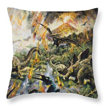 Dinosaurs And Volcanoes Throw Pillow by English School