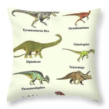 Dinosaurs Montage - Portrait Throw Pillow