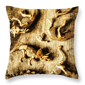 Dinosaurs In A Bone Display Throw Pillow