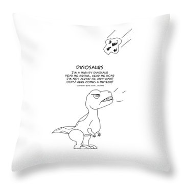 Throw Pillow featuring the drawing Dinosaurs by John Haldane