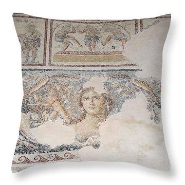 Dionysus Mosaic Mona Lisa Of The Galilee Throw Pillow by Ilan Rosen