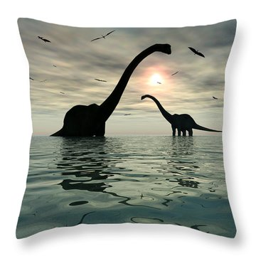 Diplodocus Dinosaurs Bathe In A Large Throw Pillow by Mark Stevenson