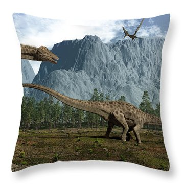 Diplodocus Dinosaurs Graze While Throw Pillow by Walter Myers
