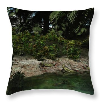Dipterus Fish Emerge From A Devonian Throw Pillow by Walter Myers