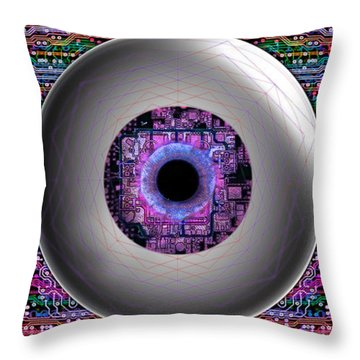 Throw Pillow featuring the digital art Direct Link by Iowan Stone-Flowers