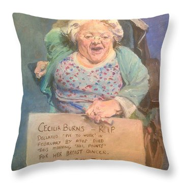 Disability Protester Remembers Cecilia Burns Throw Pillow