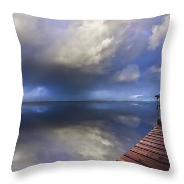 Disappearing Rainbow Throw Pillow by Debra and Dave Vanderlaan