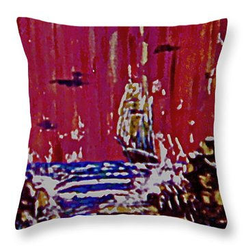 Disaster On The Reef Throw Pillow