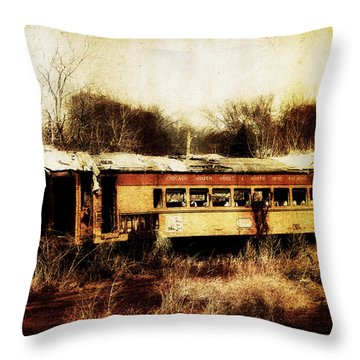 Discarded Train Throw Pillow