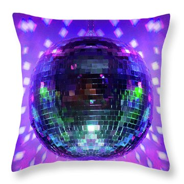 Disco Ball Purple Throw Pillow by Andee Design