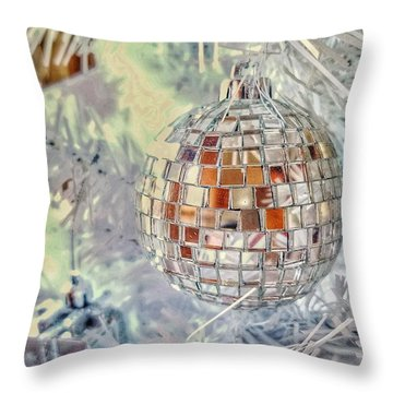 Disco Ball Tree Ornament Throw Pillow