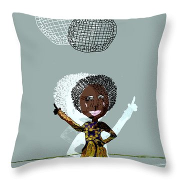Disco Lady Throw Pillow