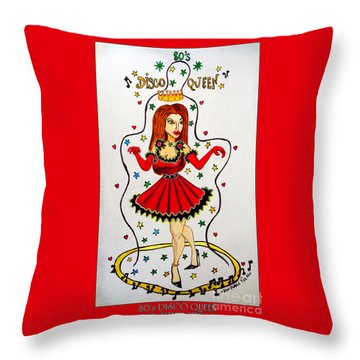 Throw Pillow featuring the painting Disco Queen 80's by Don Pedro De Gracia
