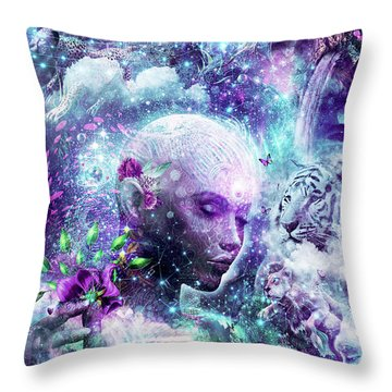 Discovering The Cosmic Consciousness Throw Pillow by Cameron Gray