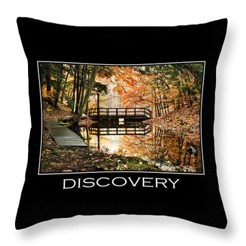 Discovery Inspirational Motivational Poster Art Throw Pillow by Christina Rollo