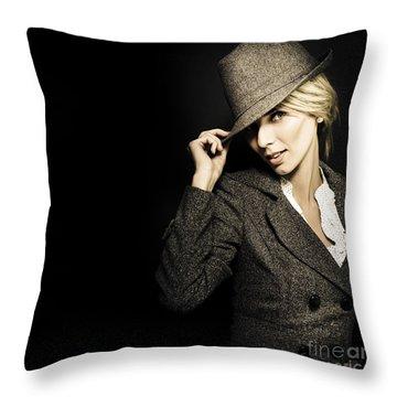 Discreet Woman In Vintage Fashion Throw Pillow