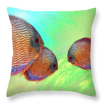 Discus In Eel Grass Throw Pillow