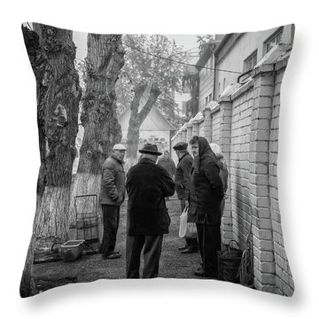 Throw Pillow featuring the photograph Discussion by John Williams
