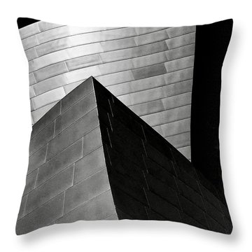 Disney Concert Hall Black And White Throw Pillow