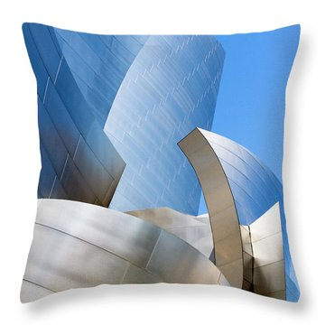 Throw Pillow featuring the photograph Disney Hall In Blue And Silver by Lorraine Devon Wilke