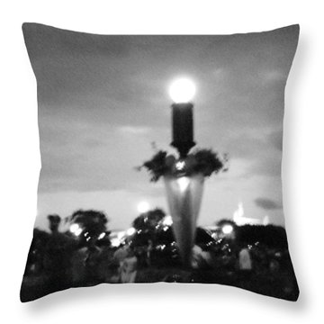 Disney Halloween Sign Throw Pillow by April Patterson