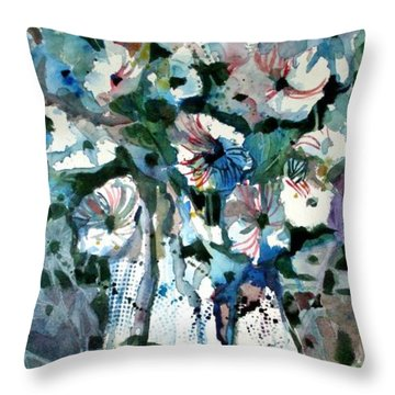 Throw Pillow featuring the painting Disney Petunias by Mindy Newman
