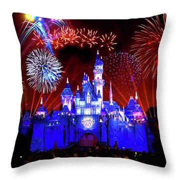 Disneyland 60th Anniversary Fireworks Throw Pillow by Mark Andrew Thomas