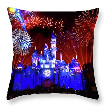Disneyland 60th Anniversary Fireworks Throw Pillow by Mark Andrew Thomas