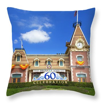 Throw Pillow featuring the photograph Disneyland Entrance by Mark Andrew Thomas