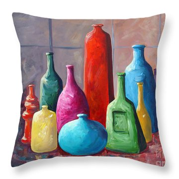 Display Bottles Throw Pillow