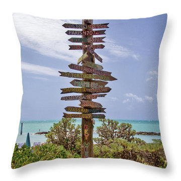 Distance From Key West Throw Pillow