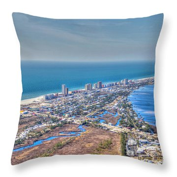 Distant Aerial View Of Gulf Shores Throw Pillow