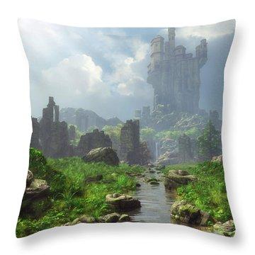 Distant Castle Throw Pillow
