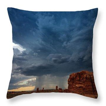 Distant Desert Storm Throw Pillow