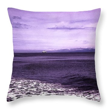 Distant Ferry Near Vancouver Island Throw Pillow