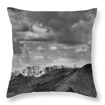 Distant Mountains The Badlands Throw Pillow