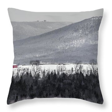 Distant Red Barn Throw Pillow