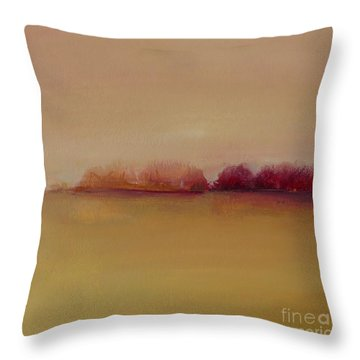 Distant Red Trees Throw Pillow