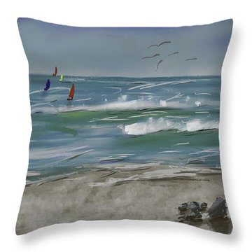 Distant Sails Throw Pillow