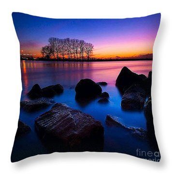 Distant Shores At Night Throw Pillow