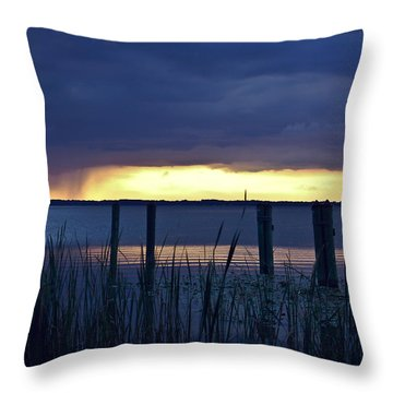 Distant Storms At Sunset Throw Pillow by DigiArt Diaries by Vicky B Fuller