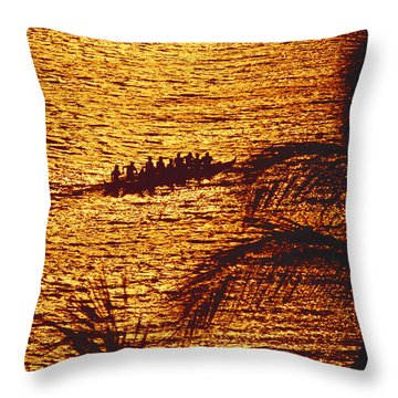 Distant View Of Outrigger Throw Pillow by Ron Dahlquist - Printscapes