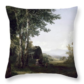 Distant View Of The Mansfield Mountain Vermont Throw Pillow